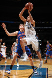 New York Knicks v Washington Wizards: JaVale McGee and Timofey Mozgov Photographic Print by Ned Dishman
