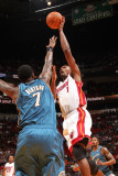 Washington Wizards v Miami Heat: Chris Bosh and Andray Blatche Photographic Print by Victor Baldizon