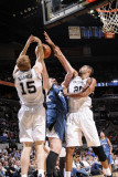 Minnesota Timberwolves v San Antonio Spurs: Kevin Love, Matt Bonner and Tim Duncan Photographic Print by D. Clarke Evans