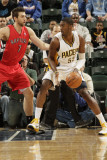 Toronto Raptors v Indiana Pacers: Roy Hibbert and Andrea Bargnani Photographic Print by Ron Hoskins