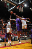 Phoenix Suns v Miami Heat: Chris Bosh, Channing Frye and Dwyane Wade Photographic Print by Victor Baldizon