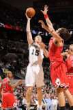 Chicago Bulls v San Antonio Spurs: Matt Bonner and Joakim Noah Photographic Print by D. Clarke Evans