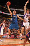 Minnesota Timberwolves v Phoenix Suns: Luke Ridnour and Goran Dragic Photographic Print by Barry Gossage