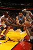 Washington Wizards v Miami Heat: JaVale McGee, Joel Anthony and LeBron James Photographic Print by Issac Baldizon