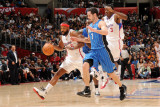 Orlando Magic v Los Angeles Clippers: Baron Davis and J.J. Redick Photographic Print by Noah Graham