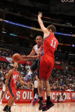 New Jersey Nets v Los Angeles Clippers: Eric Gordon and Brook Lopez Photographic Print by Noah Graham