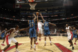 Washington Wizards v Toronto Raptors: Jerryd Bayless, Kevin Seraphin and Trevor Booker Photographic Print by Ron Turenne