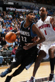 Detroit Pistons v Minnesota Timberwolves: Corey Brewer and Tracy McGrady Photographic Print by David Sherman