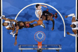 Miami Heat v Orlando Magic: Dwyane Wade, Chris Bosh and J.J. Redick Photographic Print by Fernando Medina