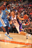 Denver Nuggets v Phoenix Suns: Nene Hil&#225;rio and Steve Nash Photographic Print by Barry Gossage