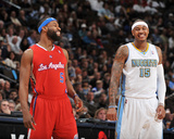 Los Angeles Clippers v Denver Nuggets: Baron Davis and Carmelo Anthony Photographic Print by Garrett Ellwood