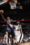 Atlanta Hawks v San Antonio Spurs: Marvins Williams and DeJuan Blair Photographic Print by D. Clarke Evans