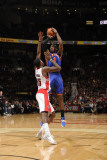 New York Knicks v Toronto Raptors: Amar'e Stoudemire and Amir Johnson Photographic Print by Ron Turenne