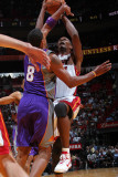 Phoenix Suns v Miami Heat: Chris Bosh and Channing Frye Photographic Print by Victor Baldizon