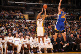 Golden State Warriors v Los Angeles Lakers: Derek Fisher and Stephen Curry Photographic Print by Noah Graham