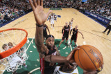 Miami Heat v Utah Jazz: LeBron James and Al Jefferson Photographic Print by Melissa Majchrzak
