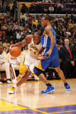 Golden State Warriors v Los Angeles Lakers: Kobe Bryant and Monta Ellis Photographic Print by Noah Graham
