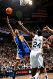 Golden State Warriors v Utah Jazz: Monta Ellis and Paul Millsap Photographic Print by Melissa Majchrzak