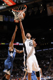 Minnesota Timberwolves v San Antonio Spurs: Tim Duncan and Wesley Johnson Photographic Print by D. Clarke Evans