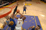 Golden State Warriors v Los Angeles Lakers: Devin Ebanks and Jeff Adrien Photographic Print by Noah Graham