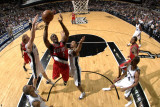Portland Trail Blazers v San Antonio Spurs: Wesley Matthews, Matt Bonner and George Hill Photographic Print by D. Clarke Evans