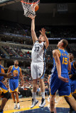 Golden State Warriors v Memphis Grizzlies: Marc Gasol and Andris Biedrins Photographic Print by Joe Murphy