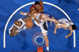 Cleveland Cavaliers v Orlando Magic: Leon Powe, Marcin Gortat and Quentin Richardson Photographic Print by Fernando Medina