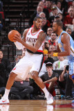 Denver Nuggets v Portland Trail Blazers: Shelden Williams and Armon Johnson Photographic Print by Sam Forencich