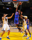 New York Knicks v Golden State Warriors: Ronny Turiaf and Andris Biedrins Photographic Print by Rocky Widner