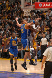 Golden State Warriors v Los Angeles Lakers: Lamar Odom and Andris Biedrins Photographic Print by Noah Graham