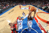New Jersey Nets v Philadelphia 76ers: Tony Battie and Thaddeus Young Photographic Print by Jesse D. Garrabrant