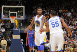 Detroit Pistons v Golden State Warriors: Dorell Wright and Reggie Williams Photographic Print by Rocky Widner