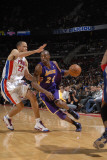 Los Angeles Lakers v Detroit Pistons: Kobe Bryant and Tayshaun Prince Photographic Print by Allen Einstein