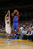 Detroit Pistons v Golden State Warriors: Stephen Curry and Ben Gordon Photographic Print by Rocky Widner