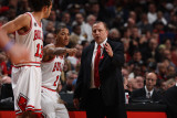 Orlando Magic v Chicago Bulls: Derrick Rose, Tom Thibodeau and Joakim Noah Photographic Print by Gary Dineen