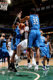 Orlando Magic v Utah Jazz: Gordon Hayward, Malik Allen and Dwight Howard Photographic Print by Melissa Majchrzak