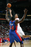 Detroit Pistons v Houston Rockets: Kevin Martin and Jason Maxiell Photographic Print by Bill Baptist