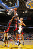 Miami Heat v Golden State Warriors: Dwayne Wade, Chris Bosh and Andris Biedrins Photographic Print by Rocky Widner