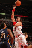 Indiana Pacers v Chicago Bulls: Joakim Noah and Brandon Rush Photographic Print by Ray Amati