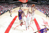 Los Angeles Lakers v Houston Rockets: Chuck Hayes and Luis Scola Photographic Print by Bill Baptist