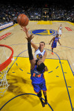 New York Knicks v Golden State Warriors: Andris Biedrins and Ronny Turiaf Photographic Print by Rocky Widner