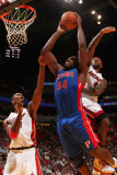 Detroit Pistons v Miami Heat: Jason Maxiell, Chris Bosh and LeBron James Photographic Print by Victor Baldizon
