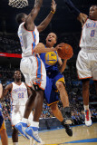 Golden State Warriors v Oklahoma City Thunder: Stephen Curry, Serge Ibaka and Russell Westbrook Photographie par Layne Murdoch