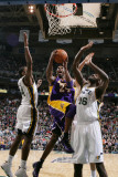 Los Angeles Lakers v Utah Jazz: Kobe Bryant, C.J. Miles and Francisco Elson Photographic Print by Melissa Majchrzak
