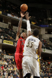 Toronto Raptors v Indiana Pacers: Sonny Weems and Roy Hibbert Photographic Print by Ron Hoskins