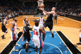 Detroit Pistons v Minnesota Timberwolves: Kevin Love and Jason Maxiell Photographic Print by David Sherman