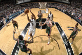Milwaukee Bucks v San Antonio Spurs: Tony Parker and Ersan Ilyasova Photographic Print by D. Clarke Evans