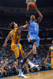 Oklahoma City Thunder v New Orleans Hornets: Russell Westbrook and Marco Belinelli Photographic Print by Layne Murdoch