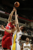 Los Angeles Clippers v Indiana Pacers: Blake Griffin and Tyler Hansbrough Photographic Print by Ron Hoskins