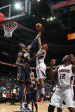 Indiana Pacers v Atlanta Hawks: Jeff Teague and Roy Hibbert Photographic Print by Scott Cunningham